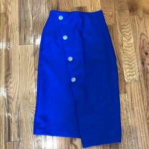 Topshop blue button down pencil skirt
